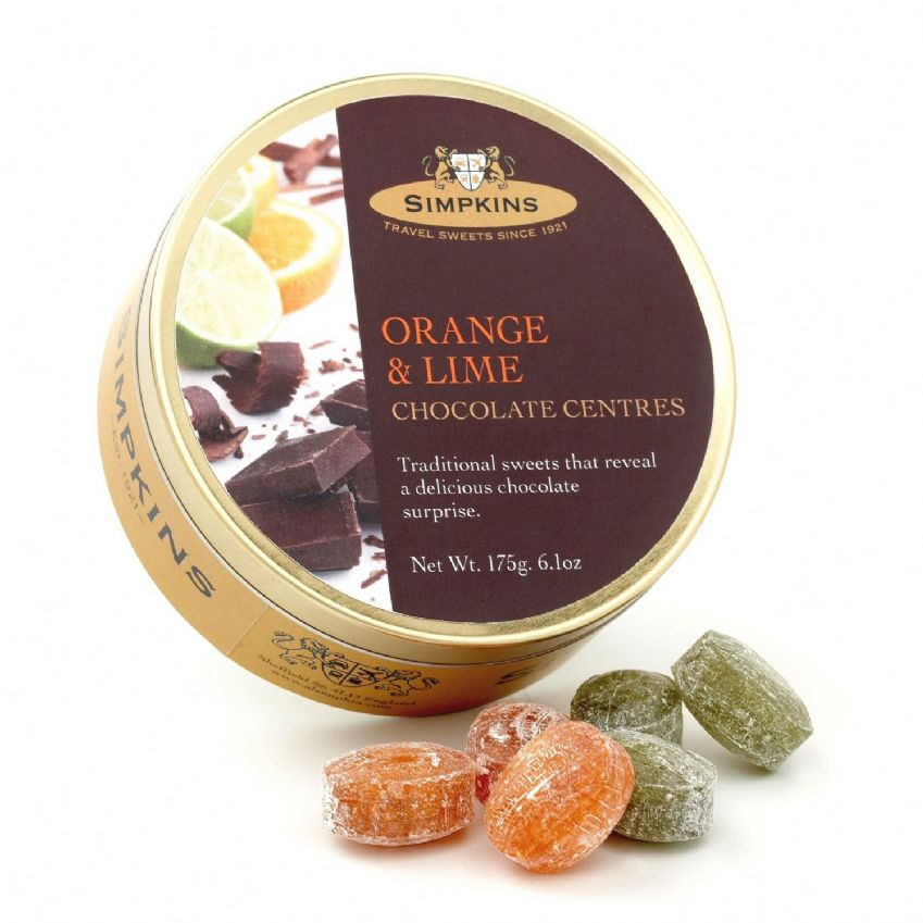 Orange & Lime Chocolate Centres - Simpkins Traditional Travel Sweets Tin 175g
